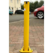 Yellow Folding Parking Post Integral Lock (Bolt Down)
